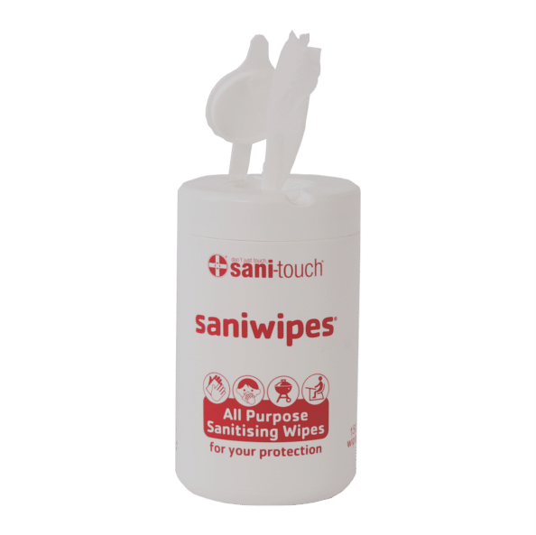 Saniwipes Canister 150 disinfectant spunlace wipes